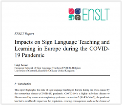 Report: Impacts on Sign Language Teaching and Learning in Europe during the COVID- 19 Pandemic